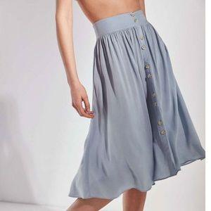 NWT Urban Outfitters Blue Button Midi Skirt